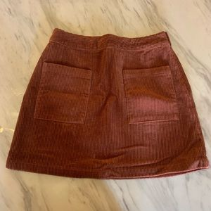 Rust faux corduroy mini skirt! Size S!